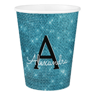 Turquoise Blue Sparkle Monogram Birthday Paper Cup