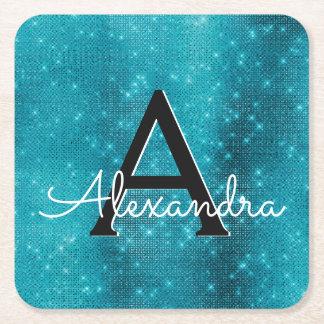 Turquoise Blue Sparkle Monogram Birthday Square Paper Coaster