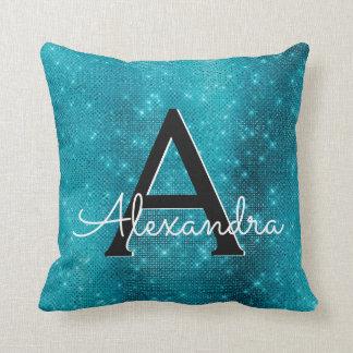 Turquoise Blue Sparkle Monogram Name & Initial Throw Pillow