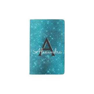 Turquoise Blue Sparkle Monogram Notebook