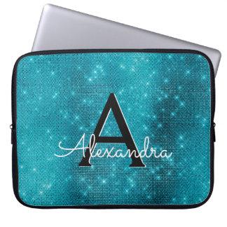Turquoise Blue Sparkling Stars Monogram Laptop Sleeve