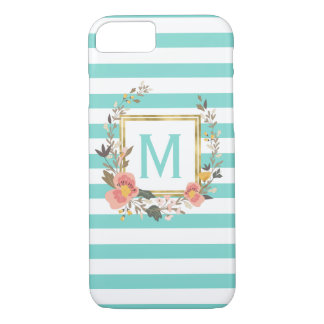 Turquoise Blue Striped Chic Monogram Personalized iPhone 7 Case