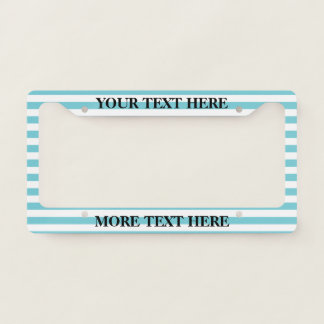 Turquoise blue striped custom license plate frame