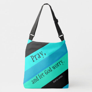 Turquoise Blue Striped Pray Shoulder Bag Tote