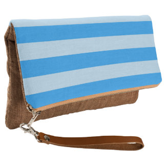 Turquoise Blue Stripes Clutch