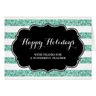Turquoise Blue Stripes Teacher Christmas Card