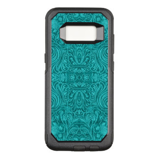Turquoise Blue Suede Leather Texture Floral Design OtterBox Commuter Samsung Galaxy S8 Case