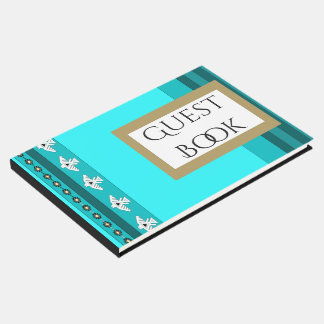 Turquoise Blue Teal Thunderbird Stripes Guest Book