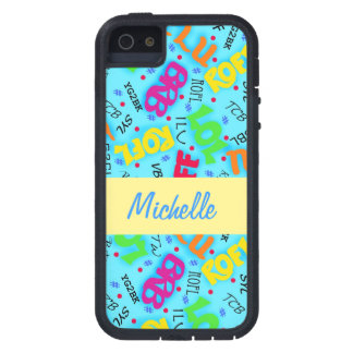 Turquoise Blue Text Art Symbols Colorful iPhone 5 Covers