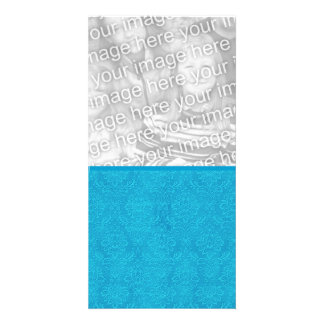 Turquoise Blue Textured Wedding Damask DIY V15 Picture Card
