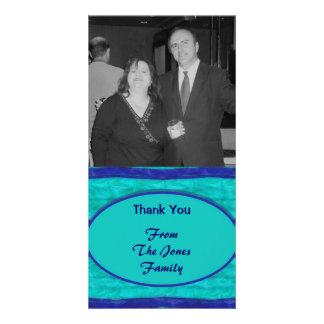 Turquoise blue Thank You Custom Photo Card