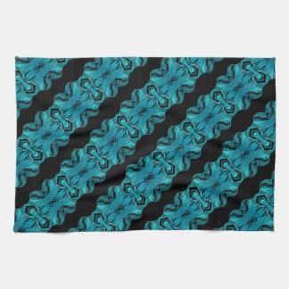 Turquoise Blue Unique Pattern/Stripes Kitchen Towel