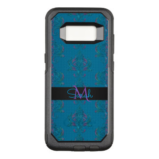 Turquoise  Blue Vintage Damask Monogram OtterBox Commuter Samsung Galaxy S8 Case