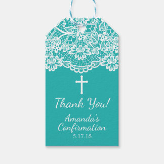 Turquoise Blue Vintage Lace Confirmation Gift Tag