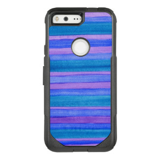 Turquoise, Blue, Violet Painted Stripes OtterBox Commuter Google Pixel Case