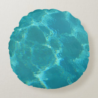 Turquoise Blue Water Round Accent Pillow