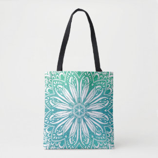 Turquoise Blue Watercolor Mandala Tote Bag