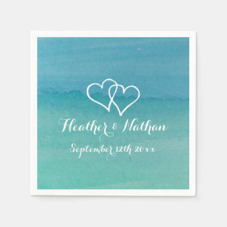 Turquoise blue watercolor painting wedding napkins