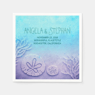 turquoise blue watercolor wedding paper napkins