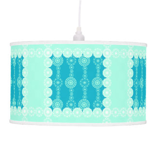 Turquoise Blue White Laces Flower Lamp
