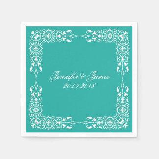 Turquoise Blue  White Wedding Vintage Floral Paper Napkin