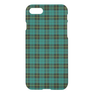 Turquoise, blue, with yellow black stripe plaid iPhone 8/7 case