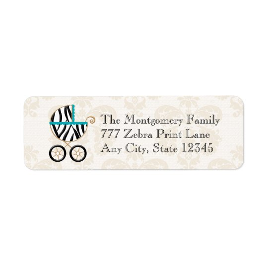 Turquoise Blue Zebra Print Baby Carriage Return