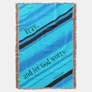 Turquoise Blues Stripes Pray Throw Blanket