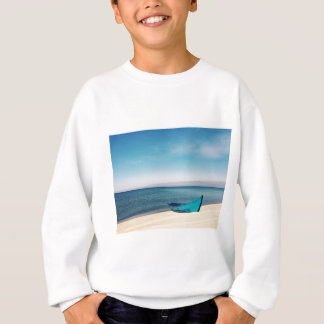 Turquoise Boat On The Beach Sweatshirt