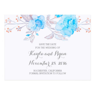 Turquoise Bouquet Floral Watercolor Save the Date Postcard