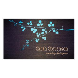 Turquoise Branch Wood Grain Stylish Designer Business Card