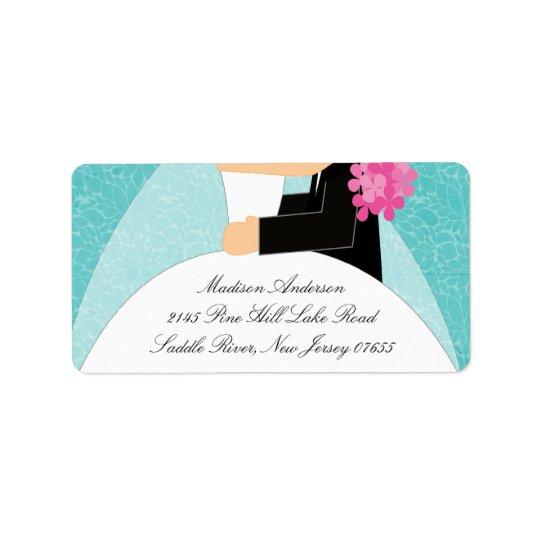 Turquoise Bride & Groom Return Address Label