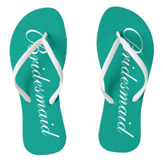 Turquoise bridesmaid flip flops for beach wedding
