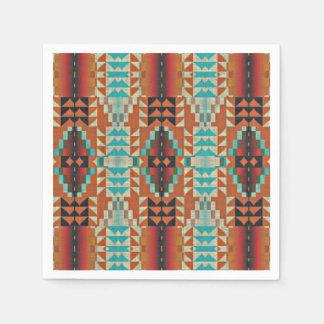 Turquoise Brown Burnt Orange Mosaic Pattern Disposable Napkin
