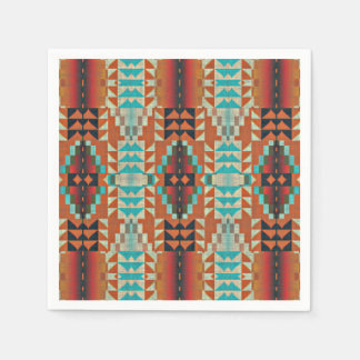Turquoise Brown Burnt Orange Mosaic Pattern Napkin