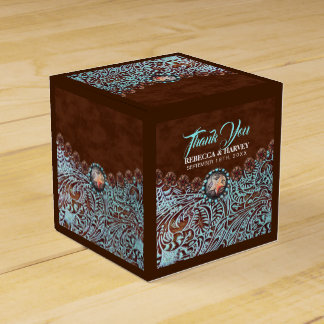 turquoise brown cowboy country western wedding favor box