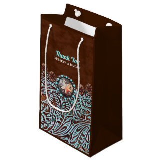 turquoise brown cowboy country western wedding small gift bag