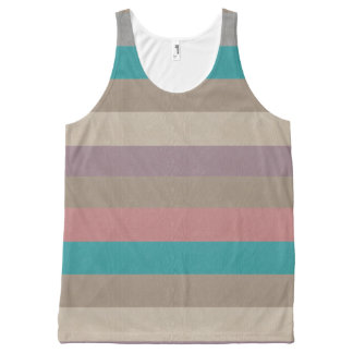 Turquoise, brown, dusty rose and violet striped All-Over-Print tank top