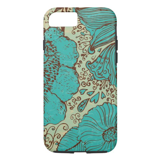 Turquoise Brown & Green Vintage Flowers iPhone 7 Case