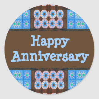 Turquoise Brown Happy Anniversary Round Sticker