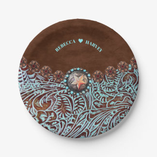 turquoise brown leather cowboy country western paper plate