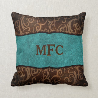 Turquoise Brown Old World Vegan Leather Monogram Throw Pillow