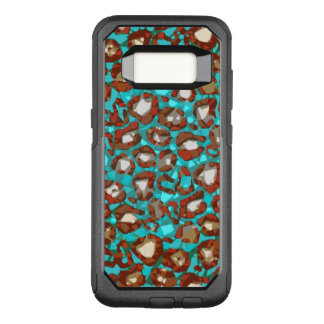 Turquoise Brown Orange Cheetah Abstract OtterBox Commuter Samsung Galaxy S8 Case