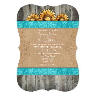 Turquoise Brown Rustic Sunflower Wedding Invite