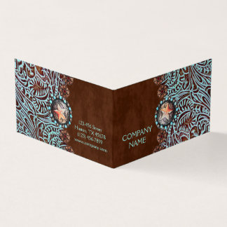 turquoise brown western country tooled leather card