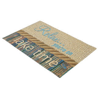 Turquoise Brown Wood Look Faux Burlap Pattern Doormat