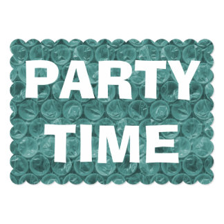 "Turquoise bubble wrap pattern birthday party 5"" x 7"" invitation card"
