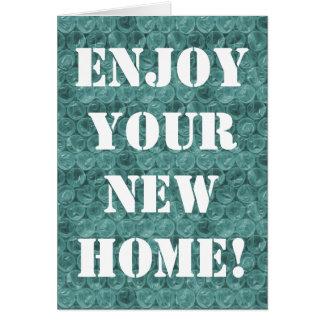 Turquoise bubble wrap pattern housewarming card