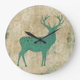 Turquoise Buck Silhouette Clock