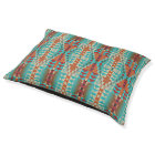 Turquoise Burnt Orange Brown Mosaic Pattern Pet Bed